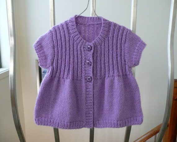 Handknitted purple short sleeved baby cardigan, fit girl to about 6 months