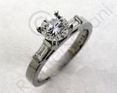 Traditional Engagment Ring with Accent Diamonds, 14K White Gold and Diamonds