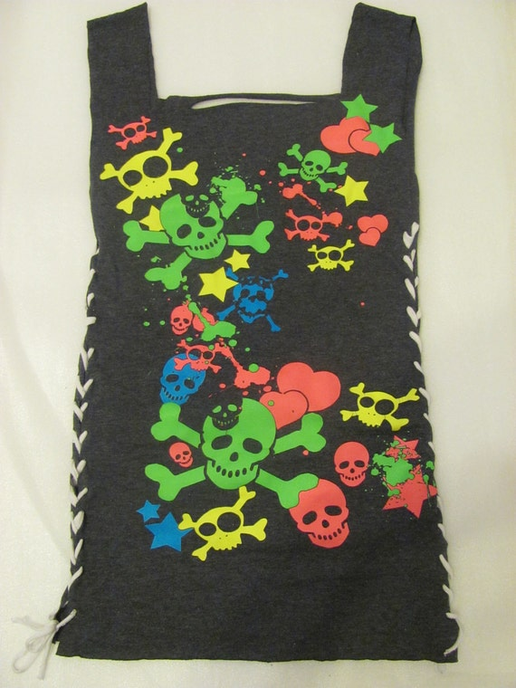 colorful skull DIY tank/corset top. Really cute and sexy, for small/medium