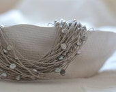 Silver Linen Necklace - Linen Necklace with Freshwater Silver Pearls, Wedding Necklace, Organic Jewelry