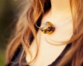 Amber Pendant Necklace, Sterling Silver Amber Necklace, Eco Friendly Necklace, Honey, Yellow, Black, Handmade Jewelry