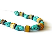 Amber Turquoise Necklace Natural Raw Stone Yellow Teal Blue Honey Gray, Earthy, Elegant Jewelry