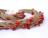Coral Linen Necklace and Bracelet, Linen Summer Jewelry, Bohemian Style, Summer Fashion, Coral Necklace Red Bracelet