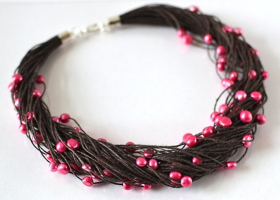 Brown Chocolate Linen Necklace with Purple Freshwater Pearls