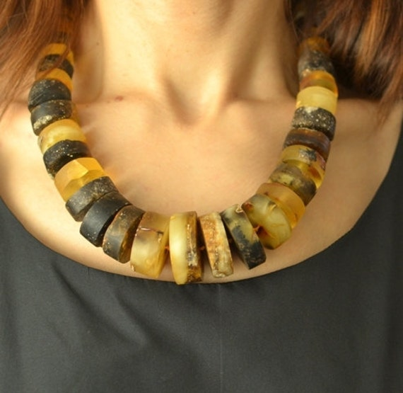 Natural Amber Necklace, Huge Statement Necklace, Genuine Amber, Earthy Colors honey, yellow, brown, butterscotch