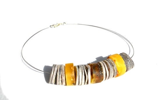 Baltic Amber Necklace, Sterling Silver Gold Amber Necklace, Yellow Silver Gray Unique Necklace