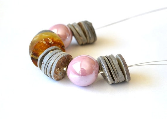 Dusty Pink Amber Necklace Gold Amber with Gray Shell and Antique Pink Ceramic Summer time, Lilac Necklace