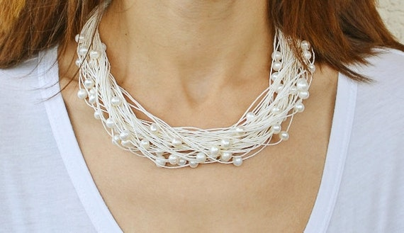 Pearl Wedding Necklace White Linen Necklace Bridal Natural Pearl Jewelry Summer Fashion Bride