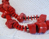 Red Coral Necklace, Long Necklace, Chunky Necklace, Red Bamboo Coral, .925 Sterling Silver