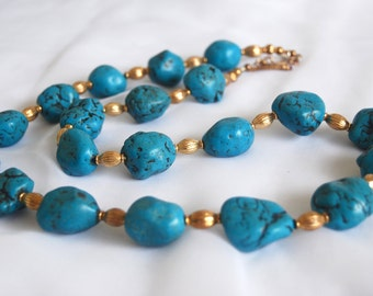 Chunky Necklace, Turquoise Nuggets Beaded Necklace, Vermeil Toggle Clasp and Spacers