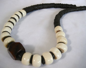 African Bone Ethnic Long Beaded Necklace, Coconut Shell, Agate Focal, .925 Sterling Silver