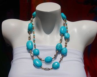 Turquoise Chunky Necklace, Long Beaded Necklace, Turquoise Nuggets, .925 Sterling Silver