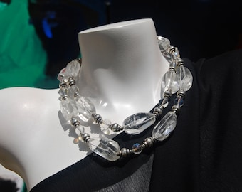 Beaded Necklace, Statement Necklace, Chunky Crystal Quartz Necklace, .925 Sterling Silver, Handmade Jewelry