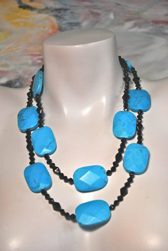 Beaded Long Necklace, Chalk Turquoise Slabs, Black Czech Glass, .925 Sterling Silver