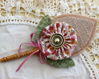 Rustic Boutonniere Burlap Felt With YoYo Flower and Button for Groom Rustic Wedding (ready to be shipped)