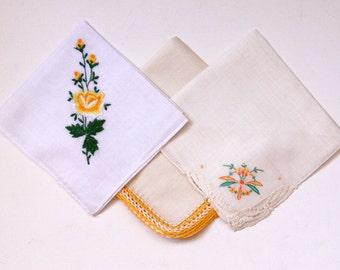 Vintage Handkerchiefs, Hand Embroidered Crocheted Handkerchiefs - Three White Yellow
