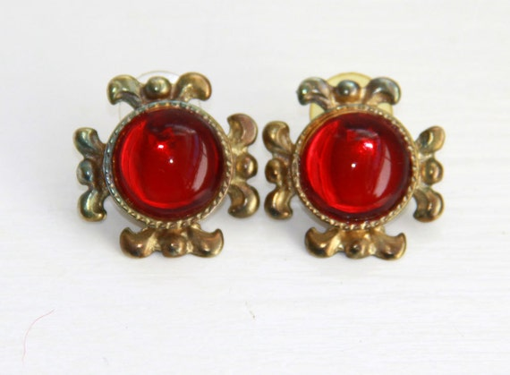 Modern Red Earrings - Large Gold Tone Stone - Vintage - Medieval - Unusual