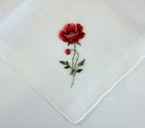 Red rose handkerchief hankie embroidered white pink made