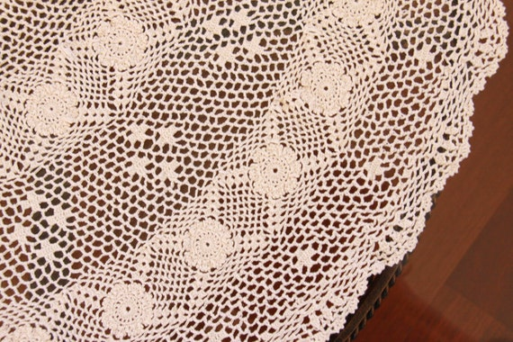 Crocheted Cotton Doily - Vintage Beige Extra Large Doily - Free shipping in USA