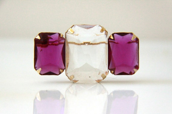 Purple Stones Brooch Pin - Vintage Avon Large Stones - Purple and Clear Stones - Modern Minimalist