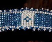 "Hand Loom Beaded Cuff Bracelet 6""  by aprox.  1/2""   wide (Blue and White)"