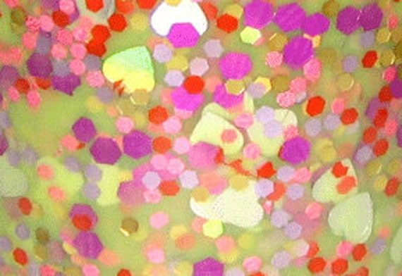 Green Eggs and Hearts Franken Nail Polish Full size  glitter