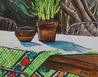 Patio Please original watercolor by Rivkah Singh / green garden patio