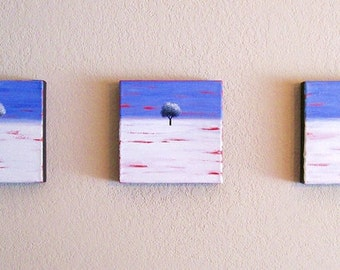 Breaking the Cycle, Set of 3 original oil paintings by Rivkah Singh / white snowy landscape