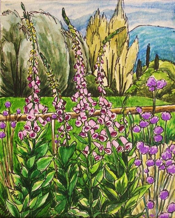 Foxy Foxgloves original watercolor painting by Rivkah Singh / purple garden flowers