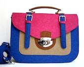 Colorful, BIG size, pink-blue-brown, summer fashion MESSENGER BAG