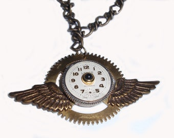 Steampunk Necklace, Wing Necklace, Antiqued Bronze Wings Necklace, Steampunk Gear Necklace, N50