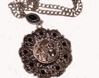 Steampunk Necklace, Victorian Necklace, Goth Necklace, Gothic Necklace,  Gun Metal Filigree Focal, Industrial Time Piece, N43