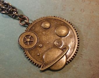Steampunk Planet Brass Pendant Necklace, Gunmetal Brass Woven Necklace