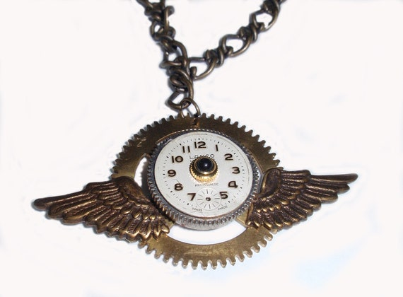 Steampunk Necklace, Fascinating Watch Dial with Jeweled Crown, Brass Gear and Antiqued Bronze Wings