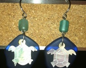 Sea Glass and Mother of Pearl Turtle Earrings