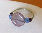 SALE - Purple Circle and Blue Beaded Ring - Benefits Avon Walk for Breast Cancer