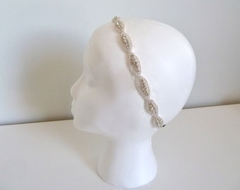 Bridal headband, beaded ribbon headband, bridal crystal headband, oval crystal headband, bridesmaid headpiece, bridesmaid gift