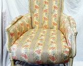 Country French armchair bergere, shabby paint, 19c