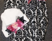 Beautiful Damask Baby Daygown with Matching Hat/bow, Perfect for Coming Home Outfit or shower gift.