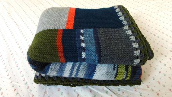 Stripes and columns in winter tones single bed size hand knit blanket (to be made on order)