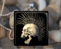 PUNK VAMPIRE SKULL Goth Halloween Glass Tile Pendant Necklace Keyring