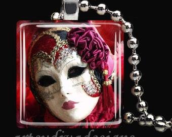 ORNATE THEATER MASK Theatre Drama Mardi Gras Glass Tile Pendant Necklace Keyring design 1