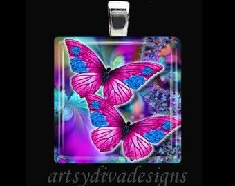 BUTTERFLIES IN LOVE Purple Butterfly Spring Summer Garden Glass Tile Pendant Necklace Keyring