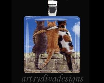 FELINE FRIENDS Kitty Cat Cats Best Friend Love Glass Tile Pendant Necklace Keyring