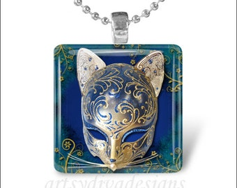 CAT THEATER MASK Kitty Theatre Drama Glass Tile Pendant Necklace Keyring