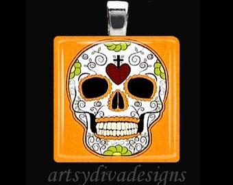 DAY OF the DEAD Dia De Los Muertos Sugar Skull Halloween Glass Tile Pendant Necklace Keyring design 2