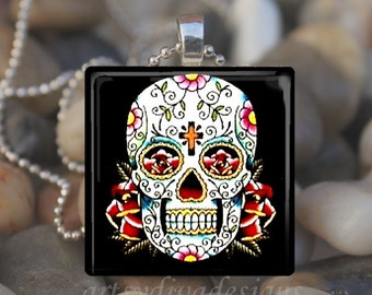 DAY OF the DEAD Dia De Los Muertos Sugar Skull Halloween Glass Tile Pendant Necklace Keyring design 3