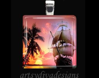 NAUTICAL SHIP SUNSET Boat Sailboat Schooner Glass Tile Pendant Necklace Keyring