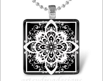 DAMASK STARBURST FLOWER Black and White Star Art Glass Tile Pendant Necklace Keyring