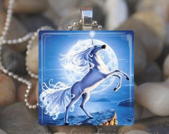 BLUE MOON UNICORN Magical Fantasy Horse Glass Tile Pendant Necklace Keyring